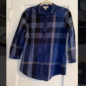 Burberry Brit Navy Check 3/4 Sleeve Button Down